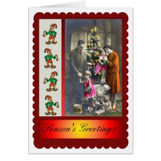 Cartão Natal da família do Victorian