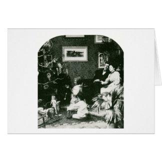 Cartão Natal da família do vintage - Stereoview