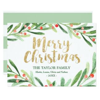 Cartão Natal da grinalda do azevinho