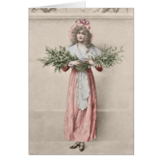 Cartão Natal da menina do azevinho do visco do vintage