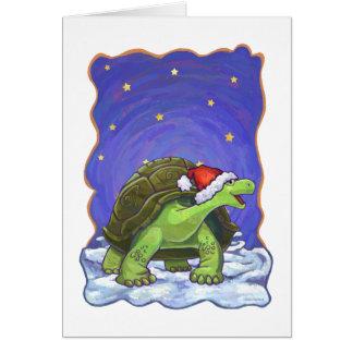 Cartão Natal da tartaruga da noite estrelado
