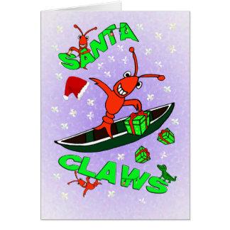 Cartão Natal das garras do papai noel dos lagostins de