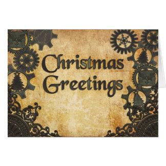 Cartão Natal de bronze pesado de Steampunk