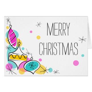 Cartão Natal de canto dos Baubles retros da árvore dentro