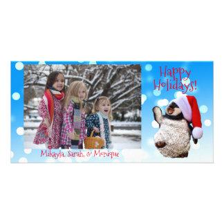 Cartão Natal de dança personalizado do pinguim