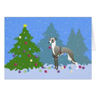 Cartão Natal de decoração Tre de Whippet do galgo