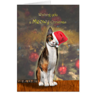 Cartão Natal de Meowey, um gato engraçado em um chapéu do