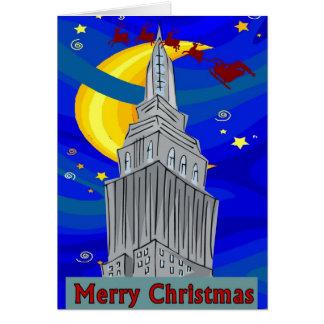 Cartão Natal de New York da noite estrelado