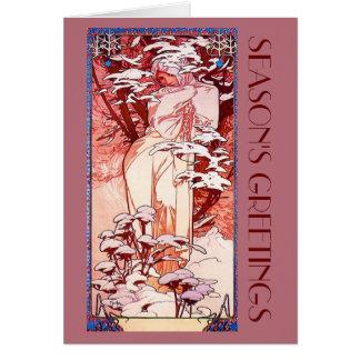 Cartão Natal de Nouveau da arte
