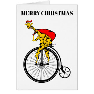 Cartão Natal de Papai Noel do girafa