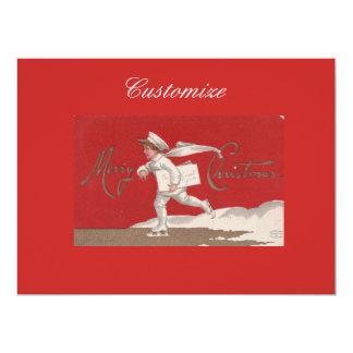 Cartão Natal de patinagem de Thunder_Cove do vintage do