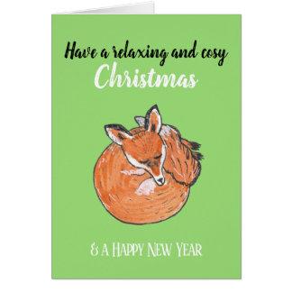 Cartão Natal de relaxamento com um Fox do sono