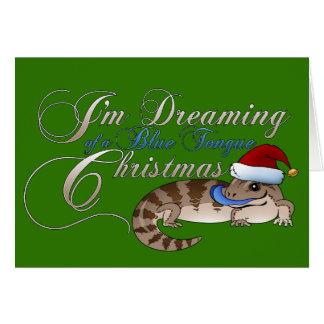 Cartão Natal de Skink da língua azul