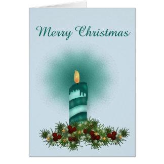 Cartão Natal de turquesa, vela e pulverizador do