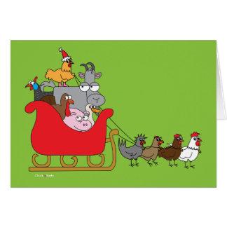 Cartão Natal do animal de fazenda