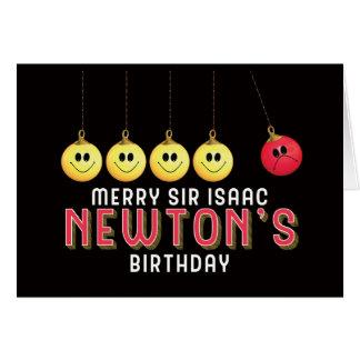 Cartão Natal do aniversário do senhor Isaac Newton alegre