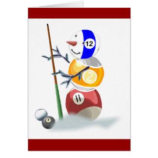 Cartão Natal do boneco de neve da bola de bilhar