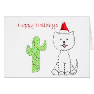 Cartão Natal do cacto de Terrier branco de montanhas