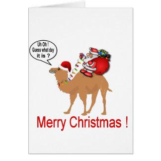 Cartão Natal do camelo do dia de corcunda com papai noel