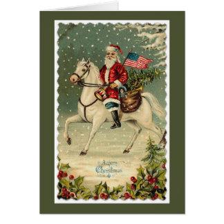 Cartão Natal do cavalo da bandeira americana do papai