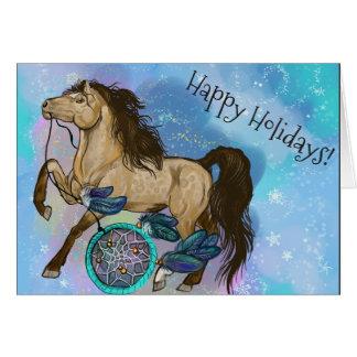 Cartão Natal do cavalo de Dreamcatcher do Buckskin