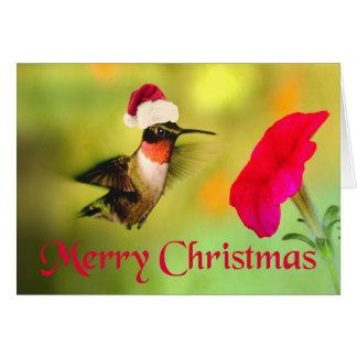 Cartão Natal do colibri do chapéu do papai noel