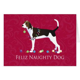 Cartão Natal do Coonhound do caminhante de Treeing