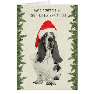Cartão Natal do estilo do vintage de Basset Hound