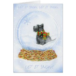 Cartão Natal do globo da neve do Scottie