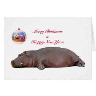 Cartão Natal do hipopótamo e cumprimento do ano novo