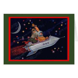 Cartão Natal do papai noel do cosmonauta