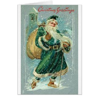 Cartão Natal do papai noel do vintage 1909