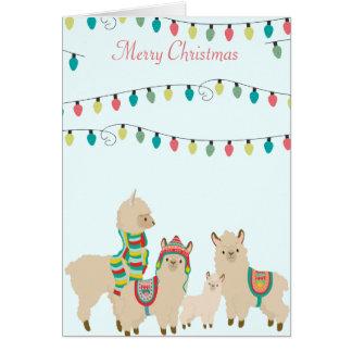 Cartão Natal do rebanho do lama