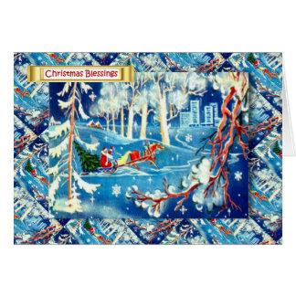 Cartão Natal do russo do vintage, a viagem do papai noel