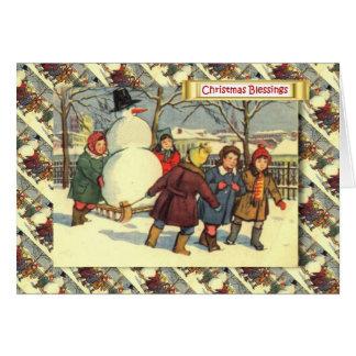 Cartão Natal do russo do vintage, crianças e um boneco de