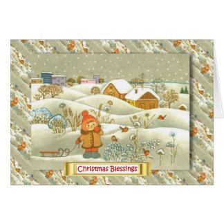 Cartão Natal do russo do vintage, menina com um pequeno