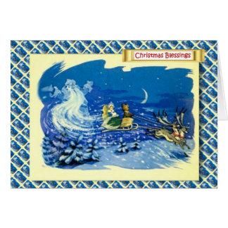 Cartão Natal do russo do vintage, papai noel fantasma
