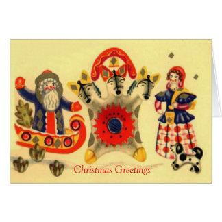 "Cartão Natal do russo do vintage, papai noel, ""troikca"","