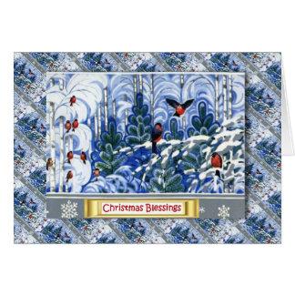 Cartão Natal do russo do vintage, robins na floresta