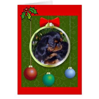 Cartão Natal do Spaniel de brinquedo inglês