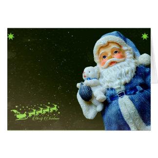 Cartão Natal do urso de Papai Noel & de ursinho