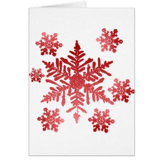 Cartão Natal dos flocos de neve do vermelho rico