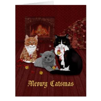 Cartão Natal dos gatos de Bels de tinir