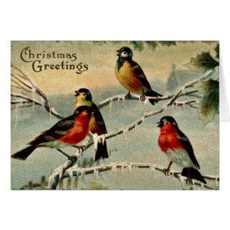 Cartão Natal dos pássaros do vintage