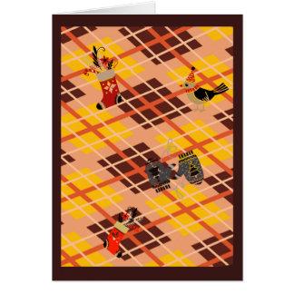 Cartão Natal dourado do inverno da xadrez de tartan