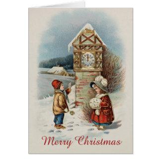 Cartão Natal editável do Victorian retro do vintage