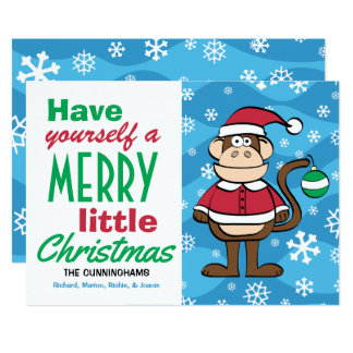 Cartão Natal engraçado do macaco do papai noel