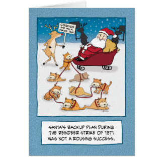 Cartão Natal engraçado: Gatos do trenó do papai noel