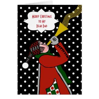 Cartão Natal feito sob encomenda para o pai, a trombeta e