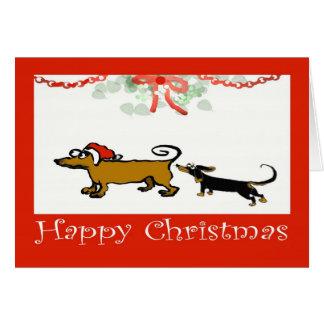 Cartão Natal feliz, dois Dachshunds